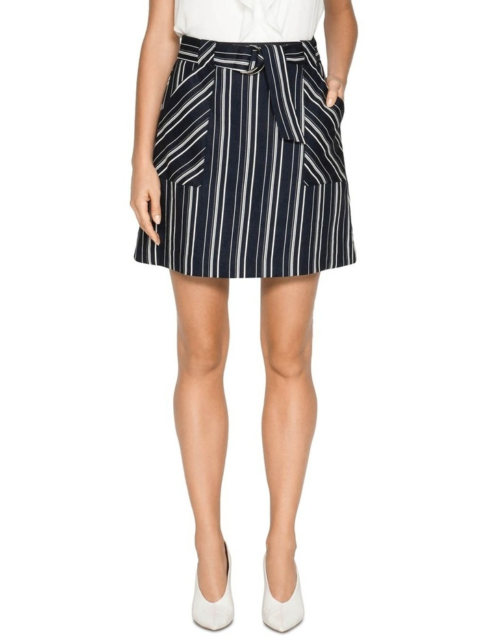 Linen Stripe Belted Skirt image 2