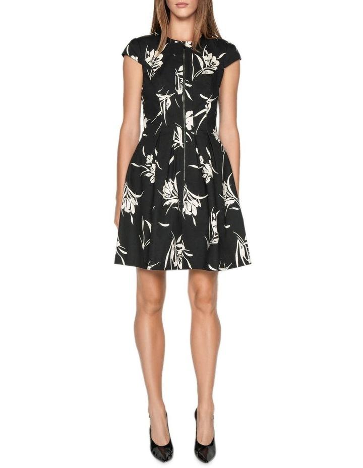 Monochrome Floral Zip Front Dress image 1
