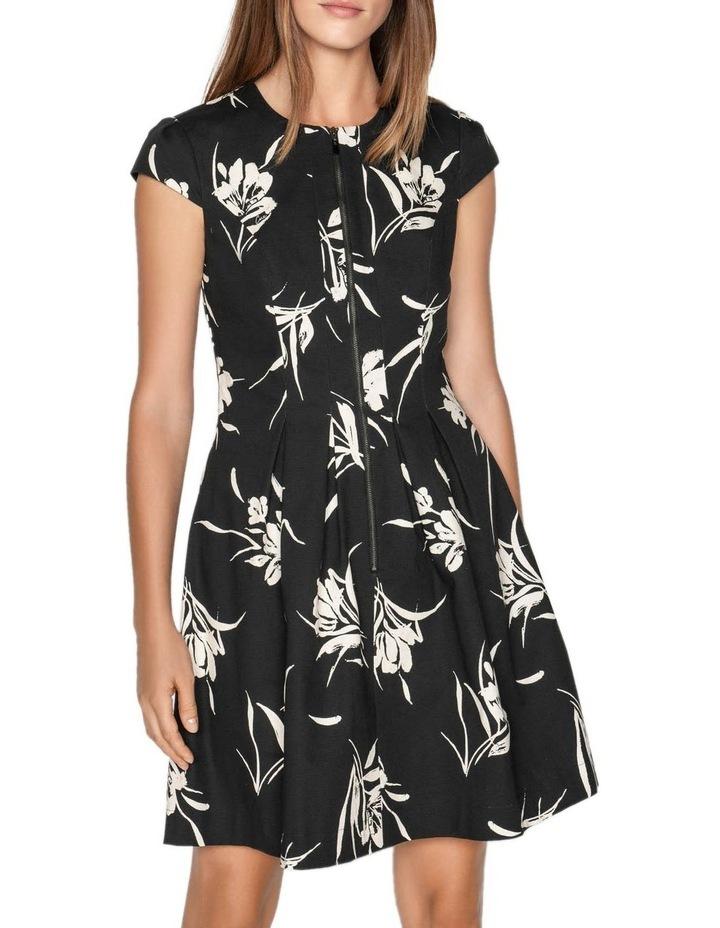 Monochrome Floral Zip Front Dress image 2