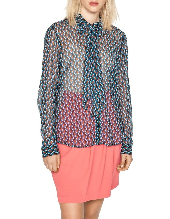 Geometric Tie Neck Blouse image 2