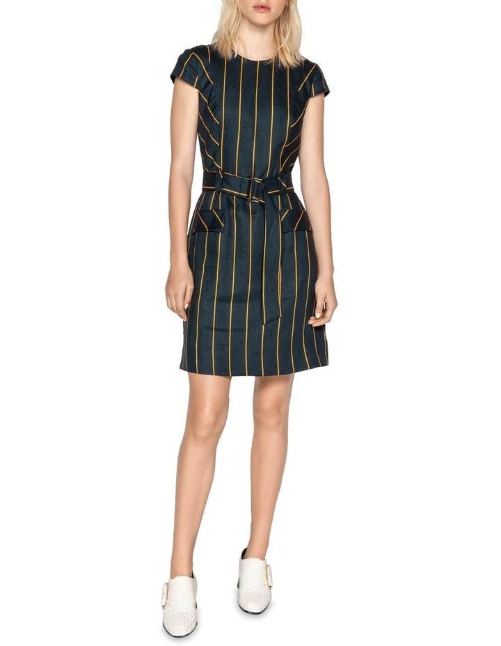 Belted Linen Stripe Dress image 1