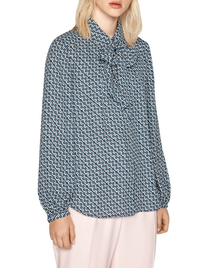 Geometric Stripe Shirt with Neck Tie image 2