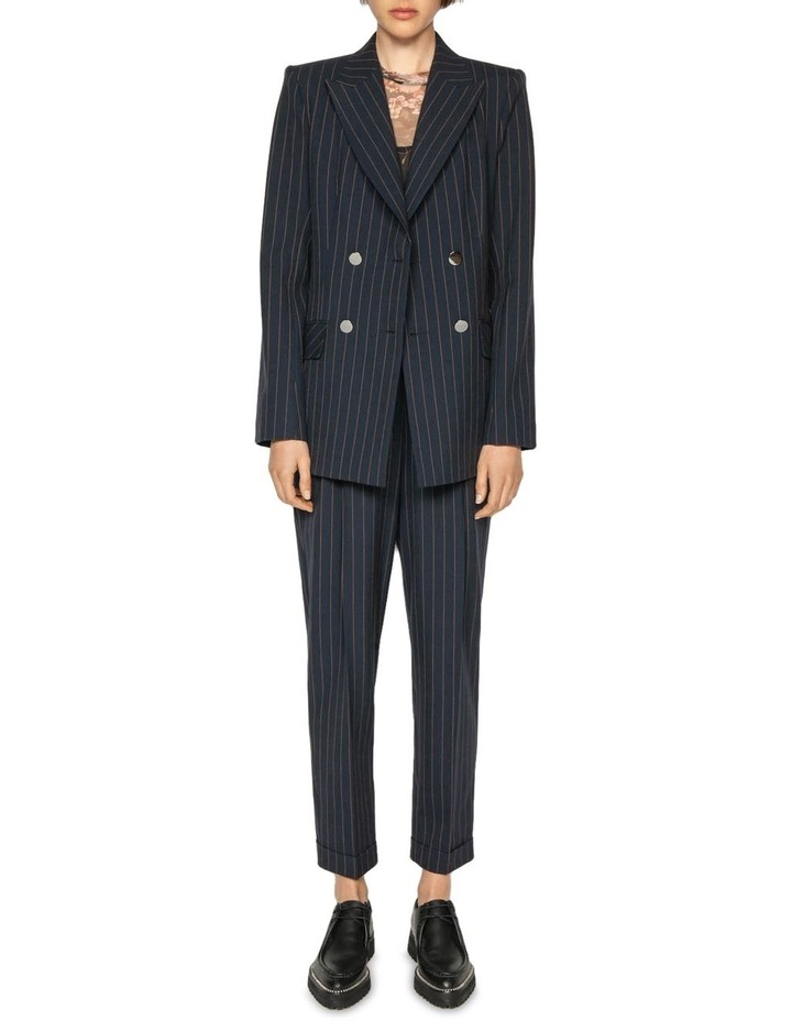 Camel Pinstripe Double Breasted Blazer image 1