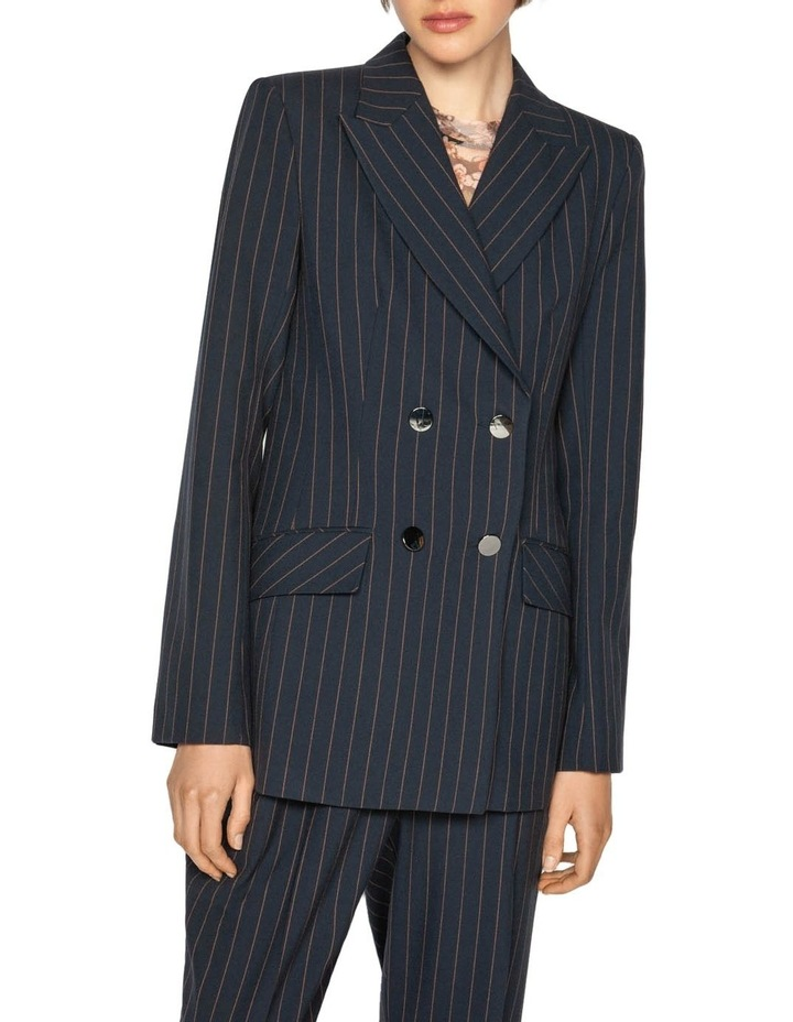 Camel Pinstripe Double Breasted Blazer image 2