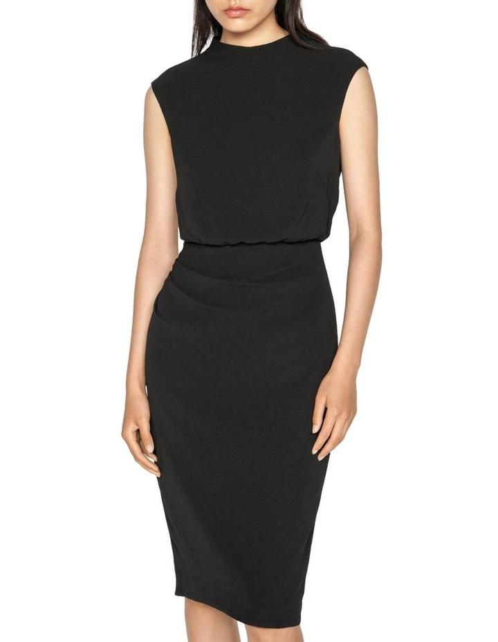 Draped Skirt Funnel Neck Dress image 2