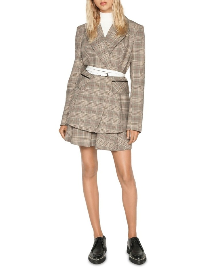 Camel Check Double Breasted Blazer image 1