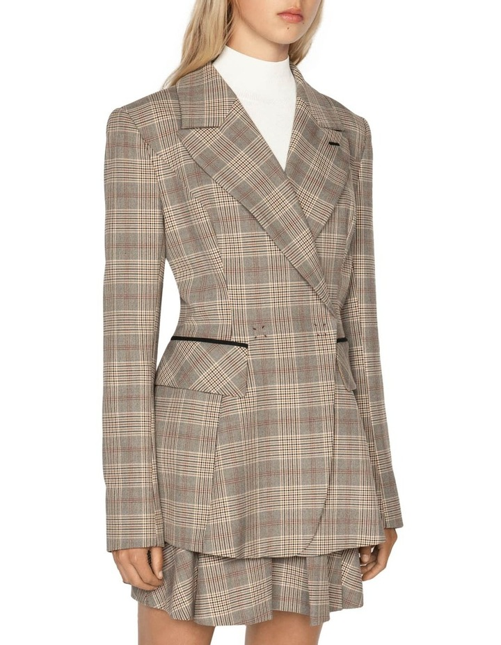 Camel Check Double Breasted Blazer image 2