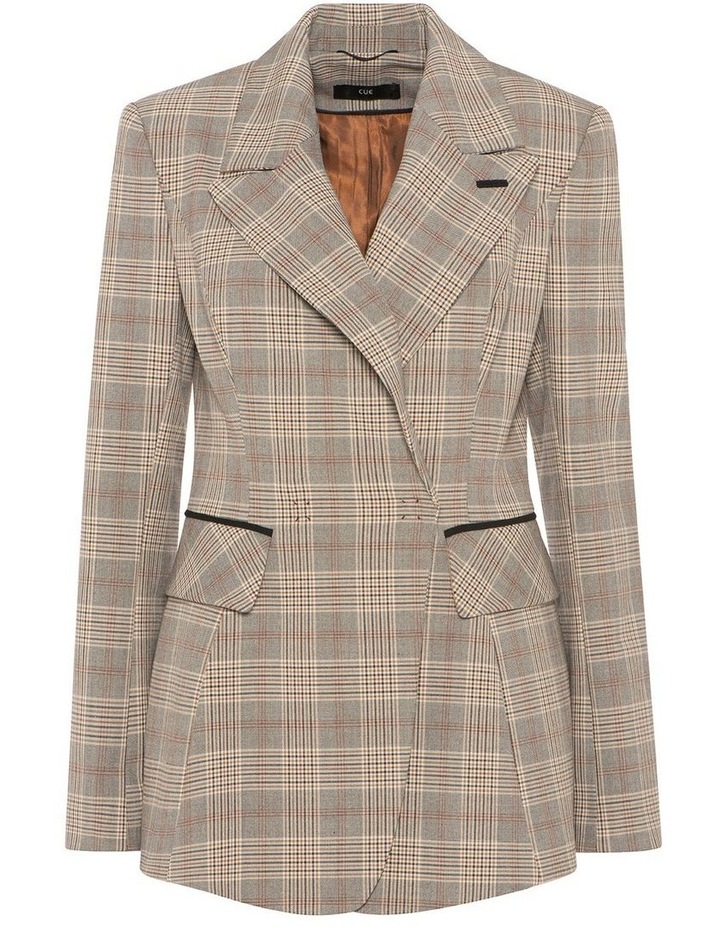 Camel Check Double Breasted Blazer image 4