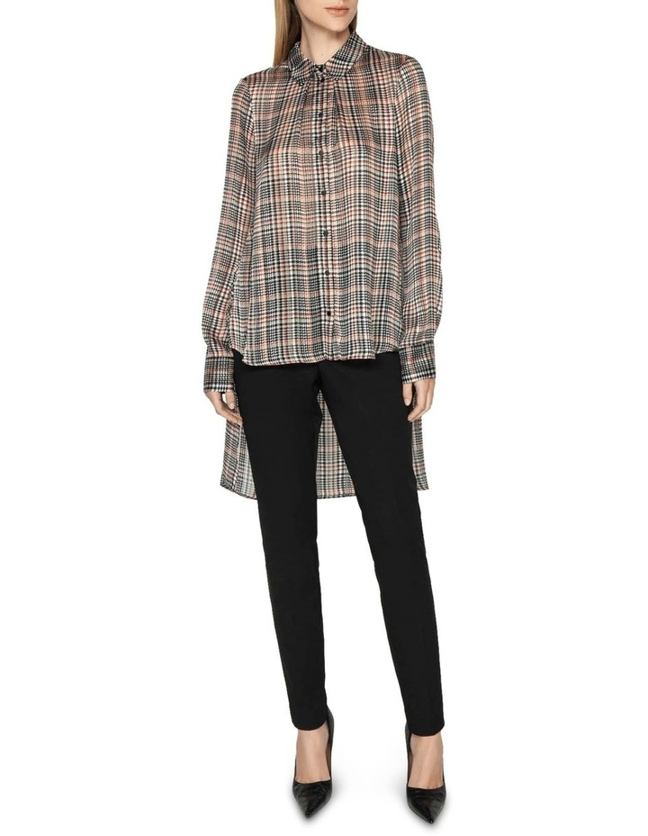 Satin Check Stepped Hem Shirt image 1