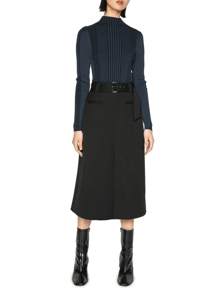 Belted Twill Midi Skirt image 1