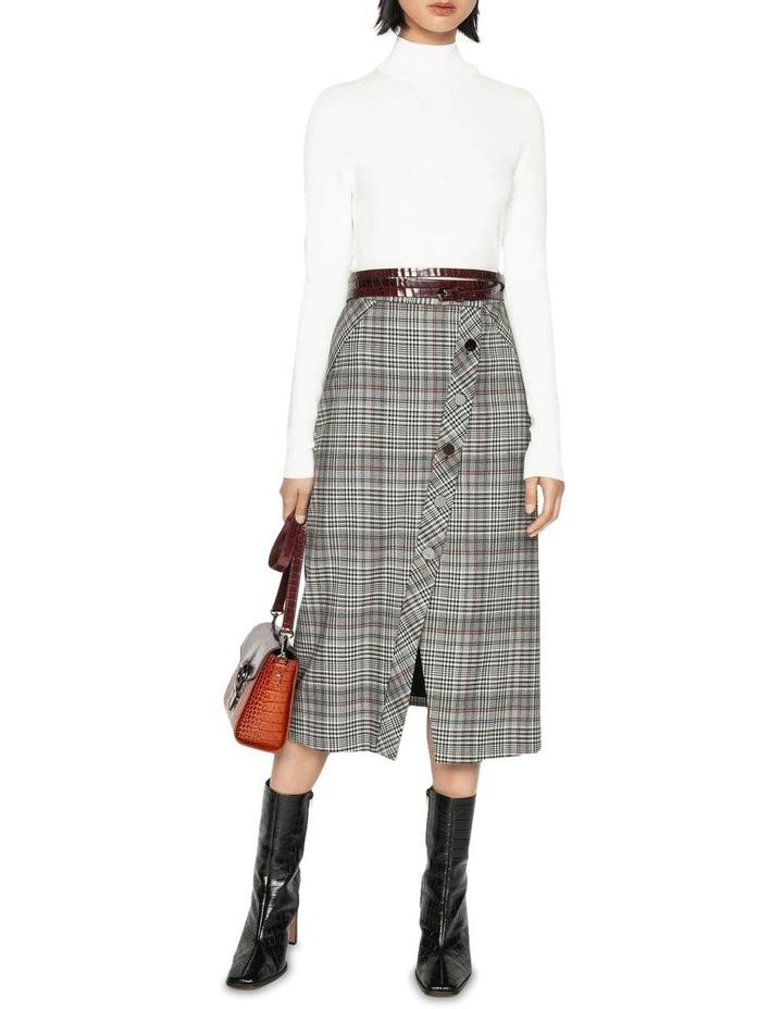Wool Blend Check Asymmetric Skirt image 1