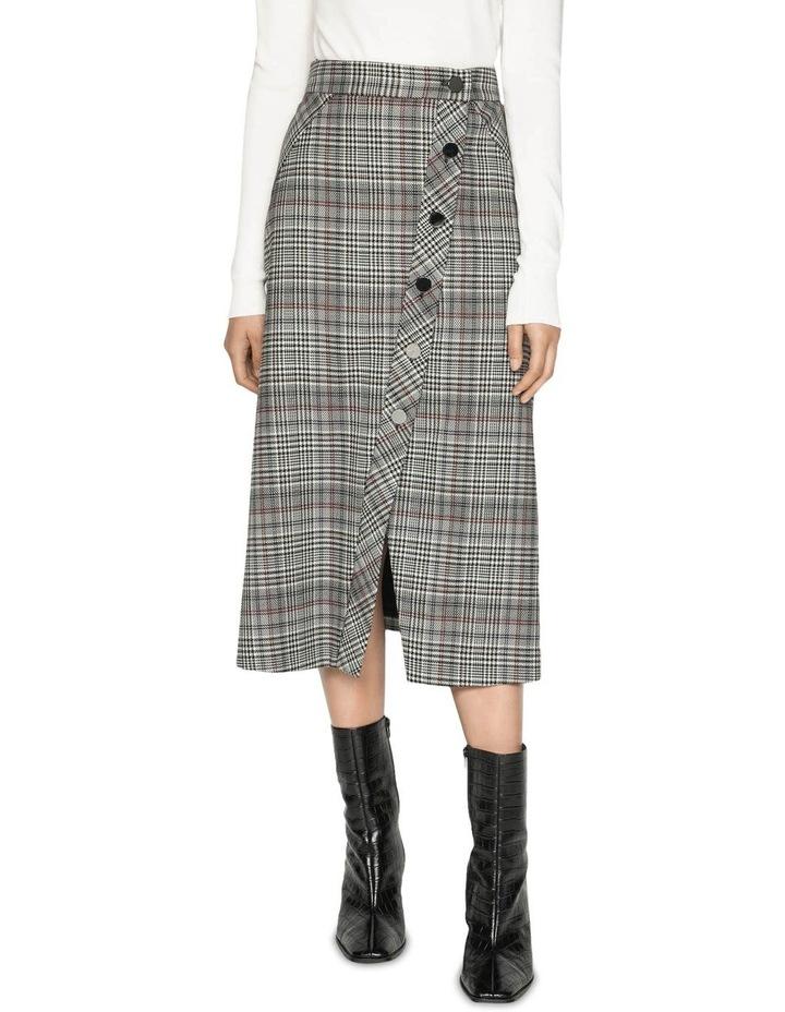 Wool Blend Check Asymmetric Skirt image 2