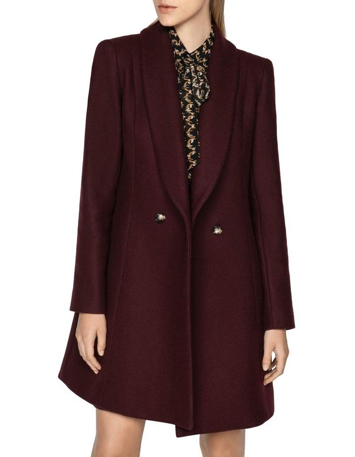 Burgundy Double Breasted Coat image 2