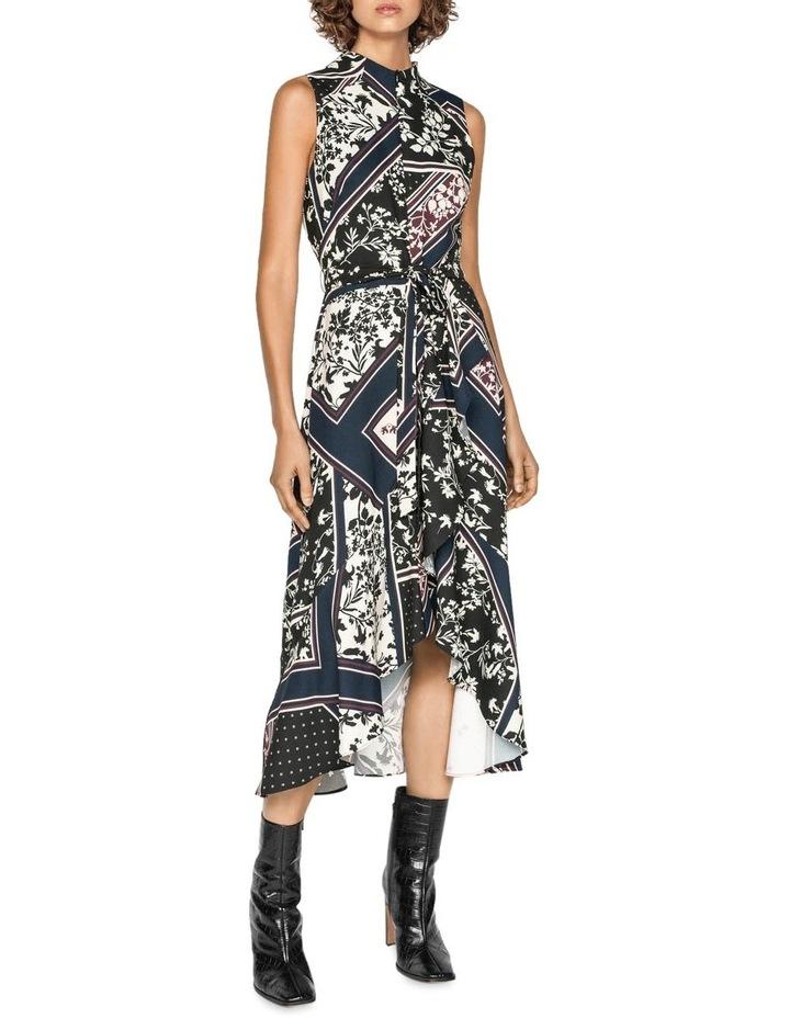 Scarf Print Longline Frill Dress image 1