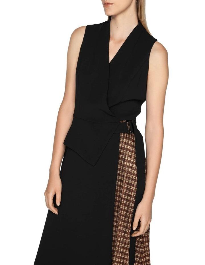 Spliced Metallic Check Wrap Dress image 2