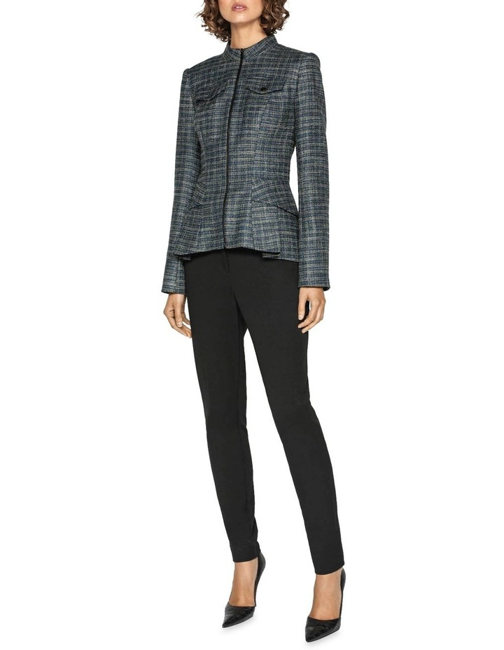 Melange Tweed Zip Front Peplum Jacket image 1