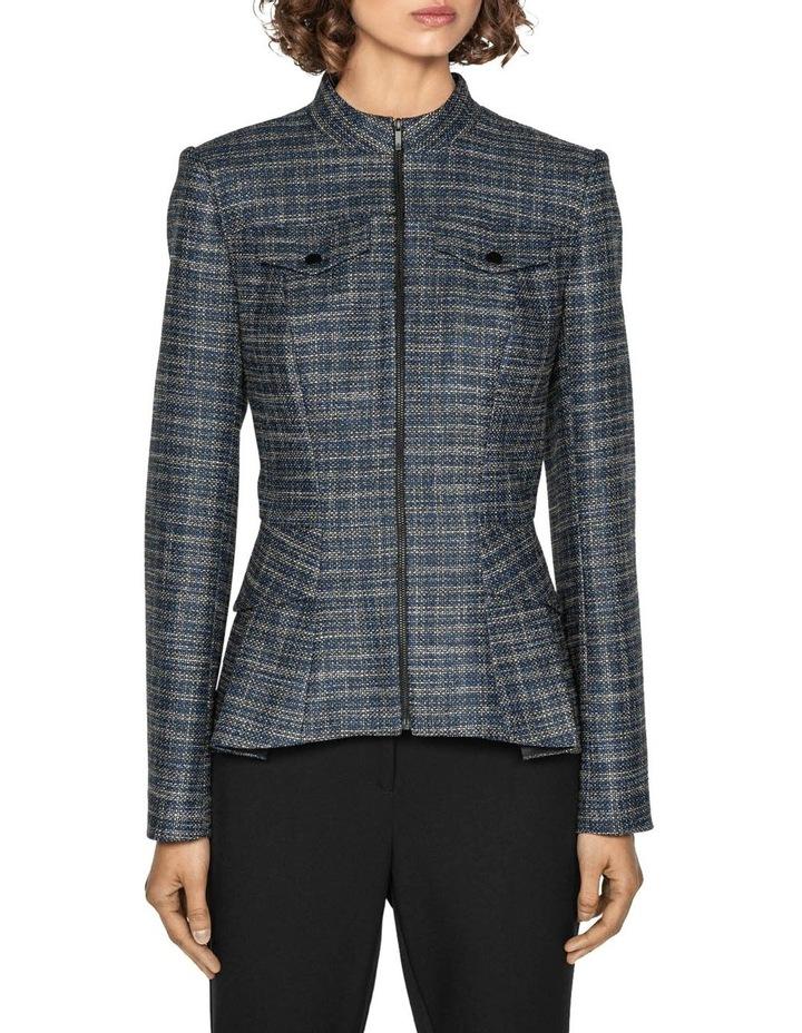 Melange Tweed Zip Front Peplum Jacket image 2