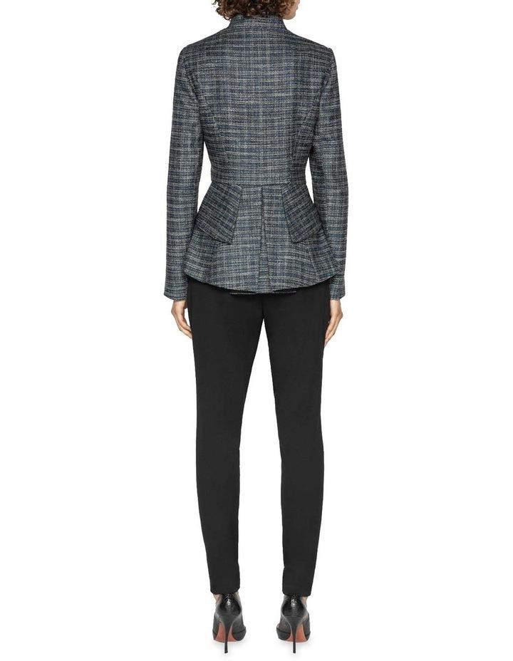 Melange Tweed Zip Front Peplum Jacket image 3