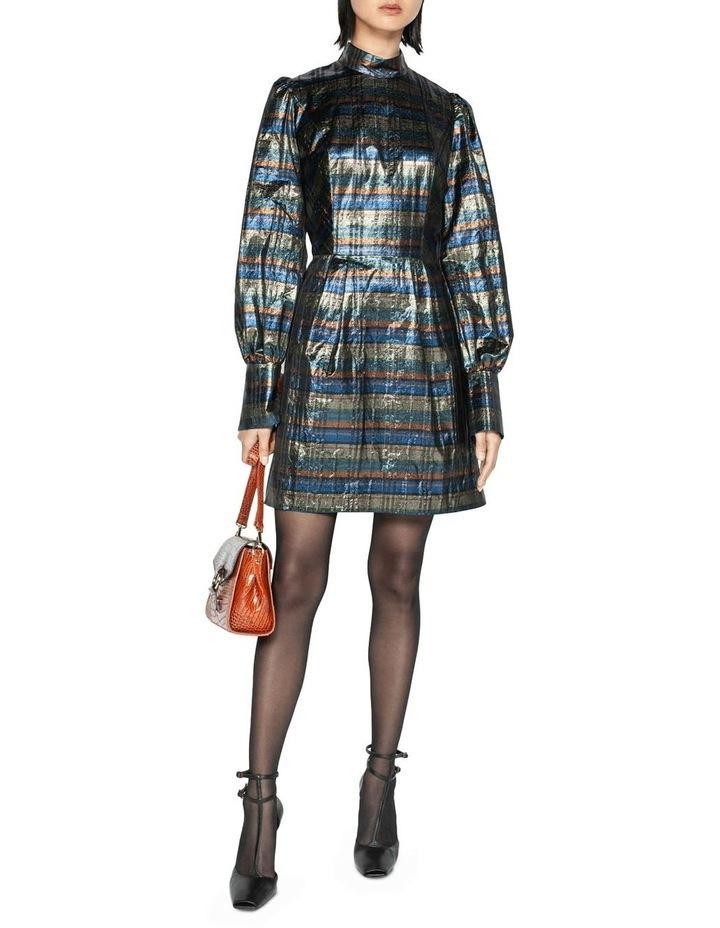 Metallic Check Blouson Sleeve Dress image 1