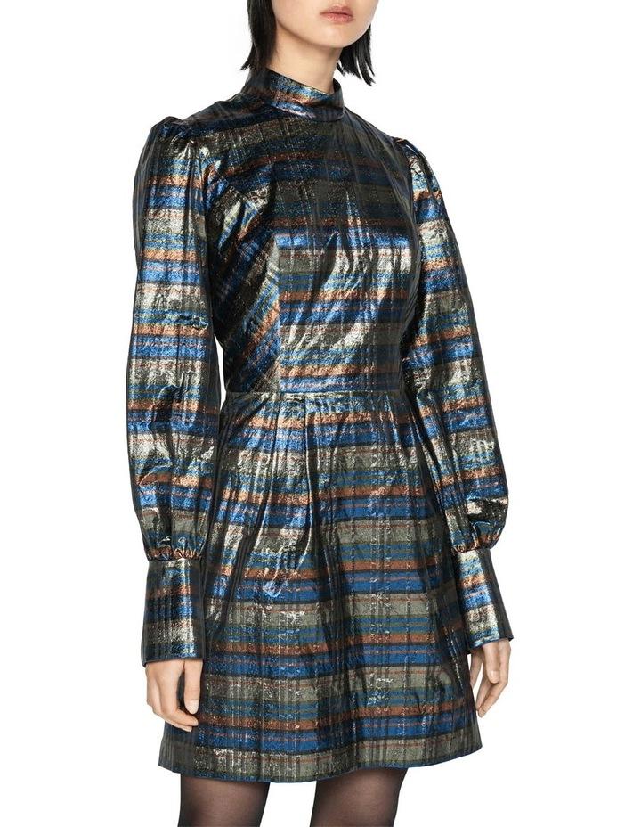 Metallic Check Blouson Sleeve Dress image 2