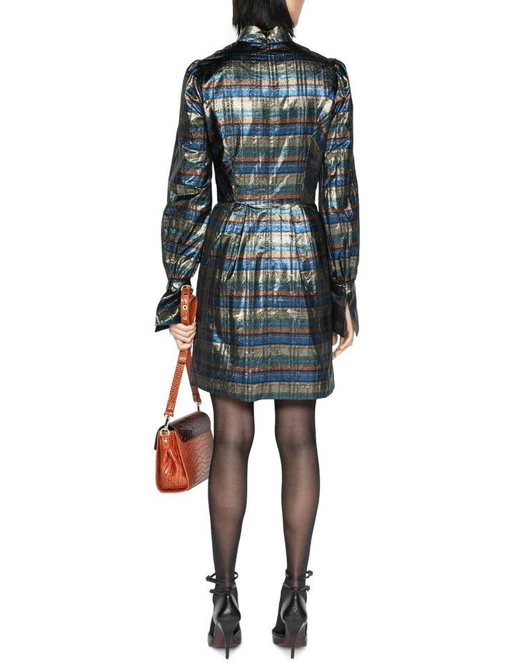 Metallic Check Blouson Sleeve Dress image 3