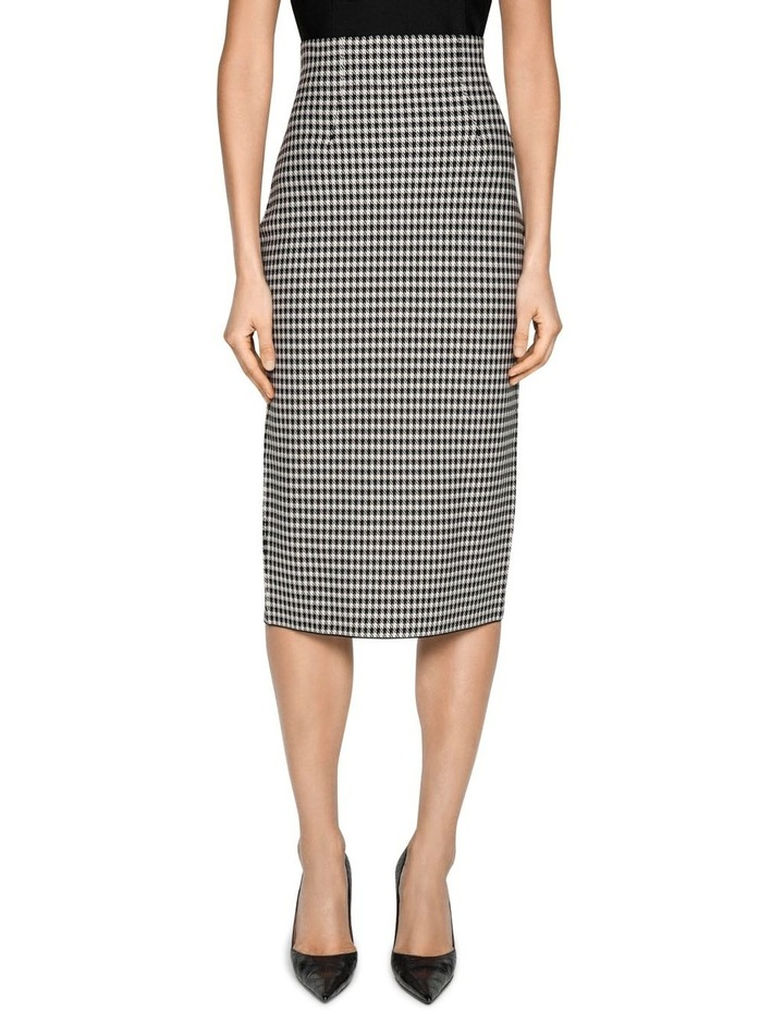 Houndstooth Milano Knit Midi Pencil Skirt image 2