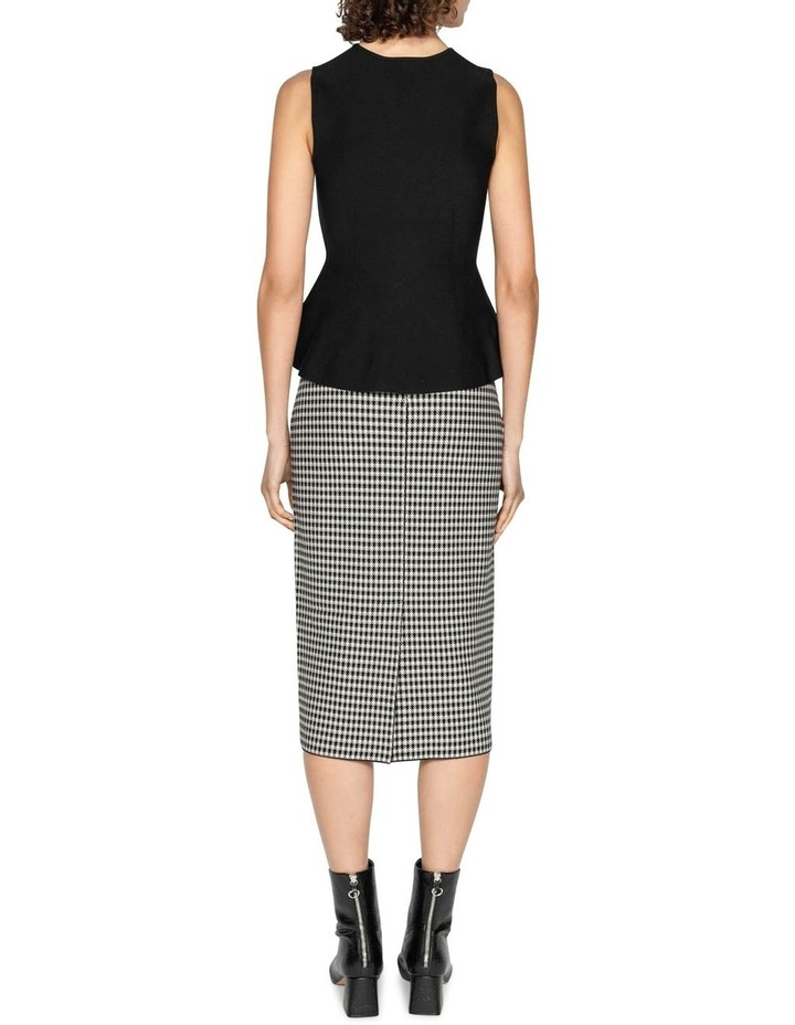 Houndstooth Milano Knit Midi Pencil Skirt image 3