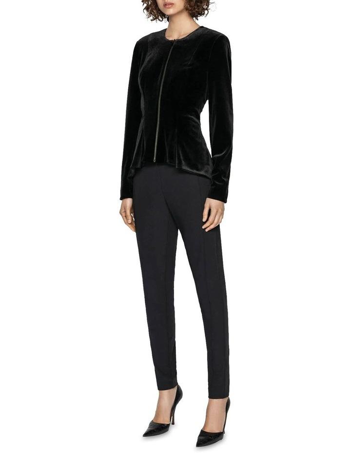 Velvet Zip Front Peplum Jacket image 1