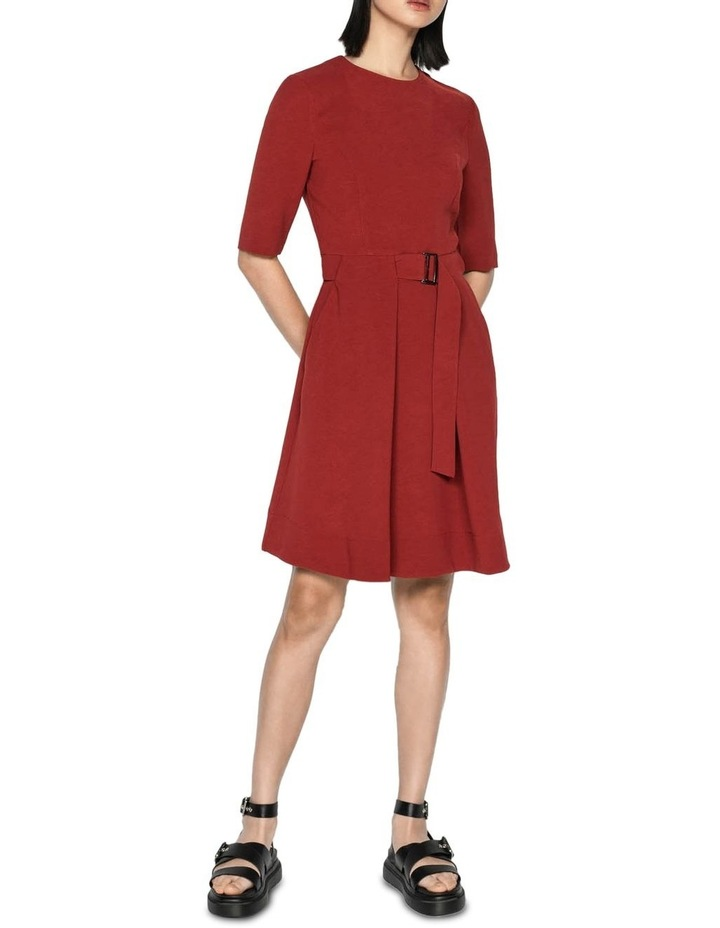 Rust Crepe Belted Dress image 1