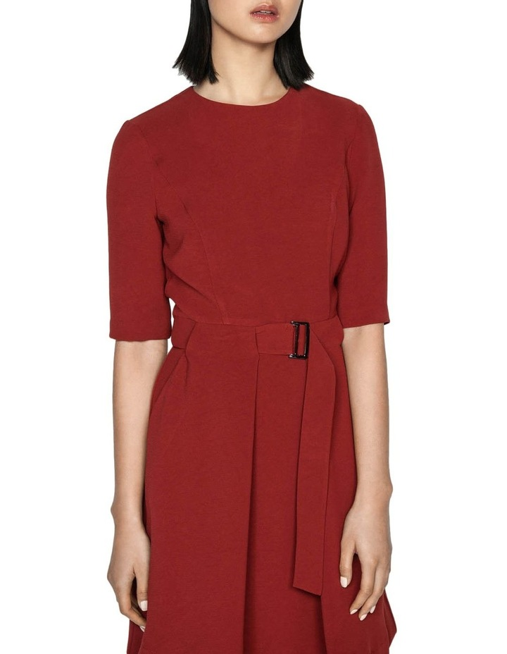 Rust Crepe Belted Dress image 2