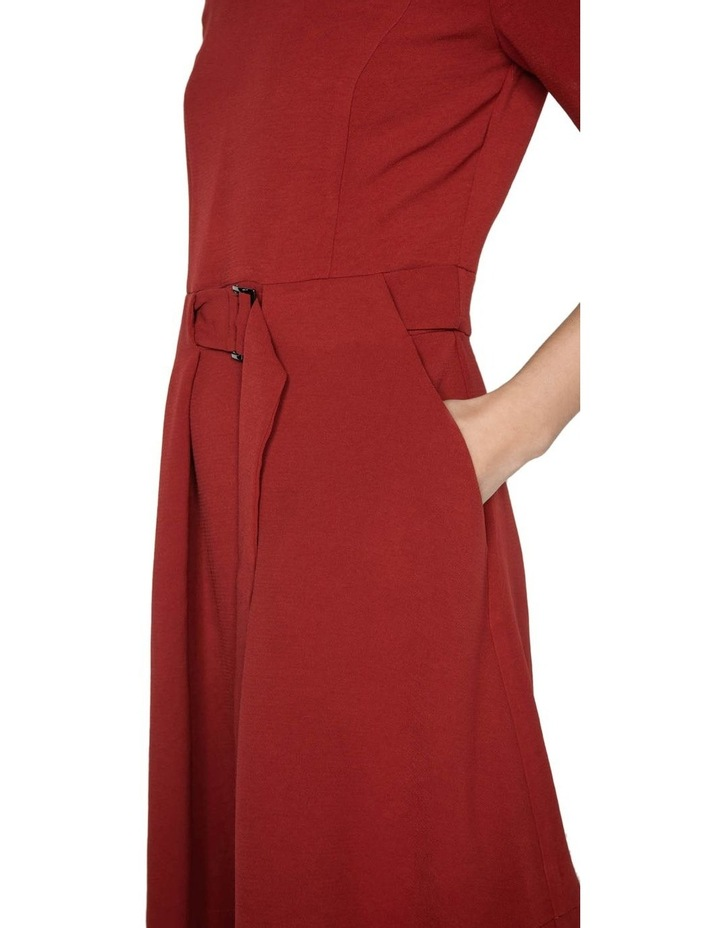 Rust Crepe Belted Dress image 4