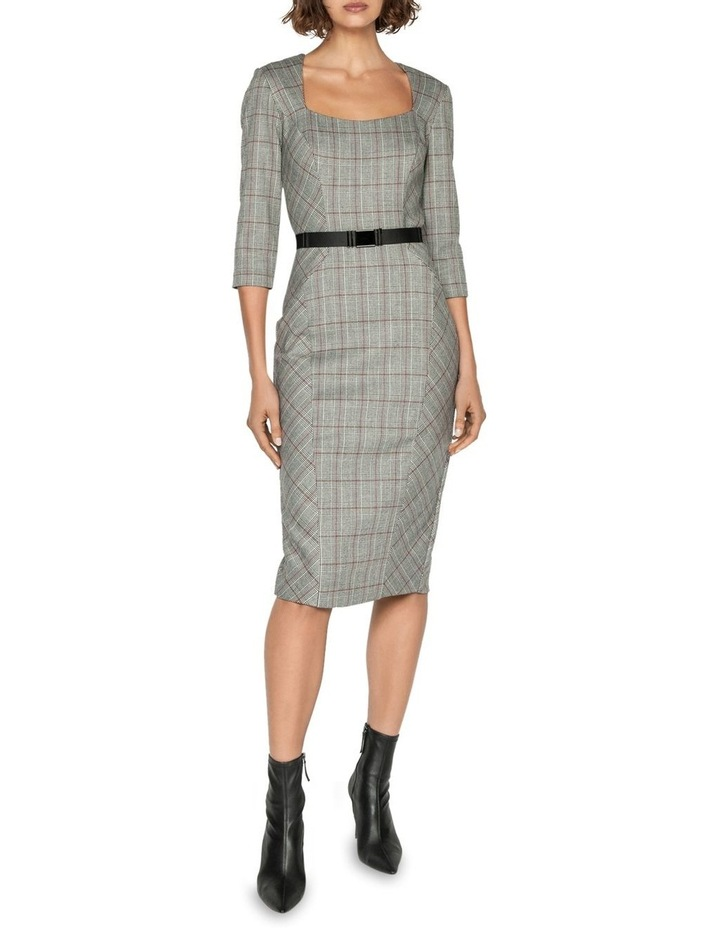 Houndstooth Belted Pencil Dress image 1