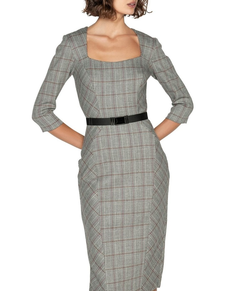 Houndstooth Belted Pencil Dress image 2