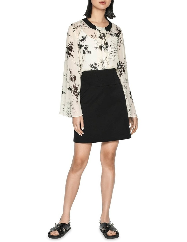 Monochrome Sprig Bell Sleeve Top image 1