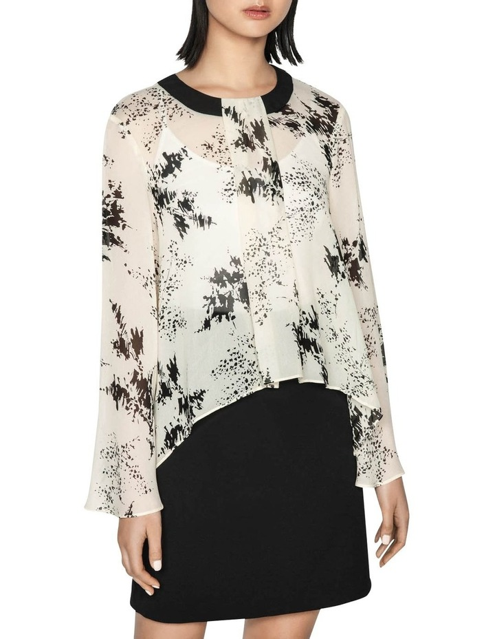 Monochrome Sprig Bell Sleeve Top image 2