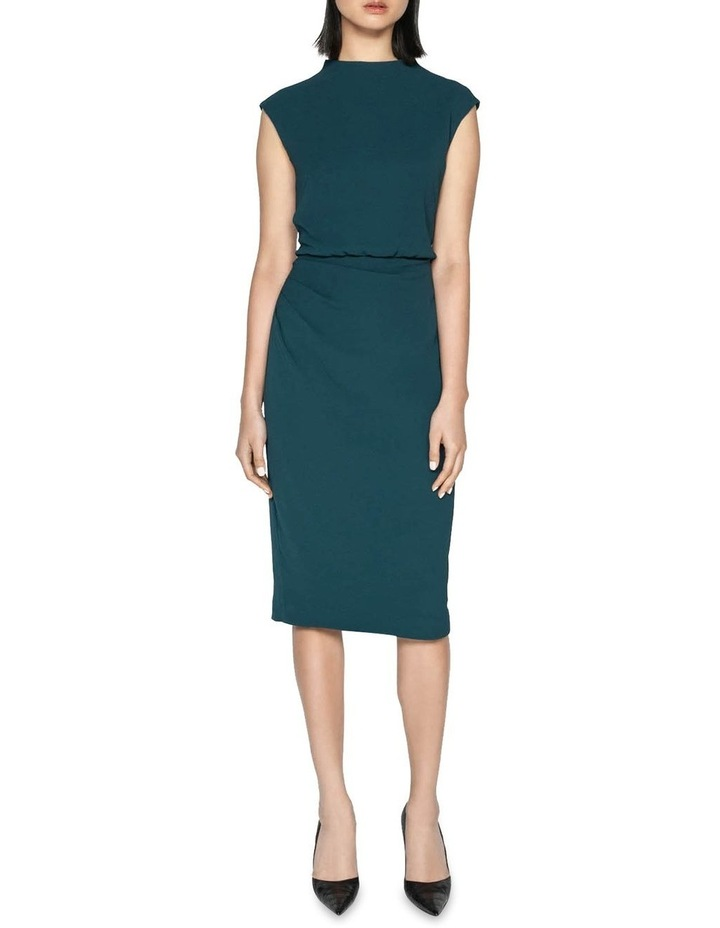 Draped Skirt Funnel Neck Dress image 1