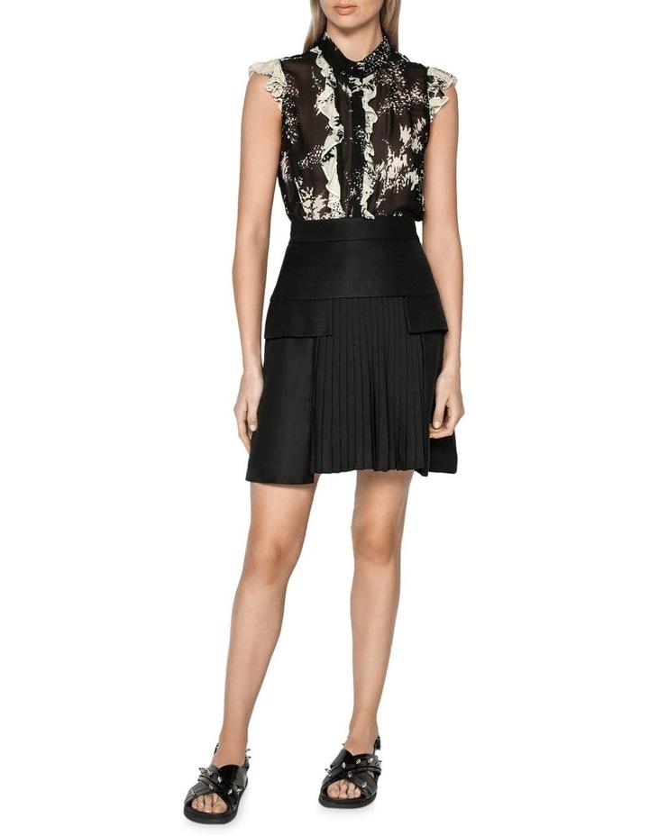 Pleated Linen Blend Mini Skirt image 1