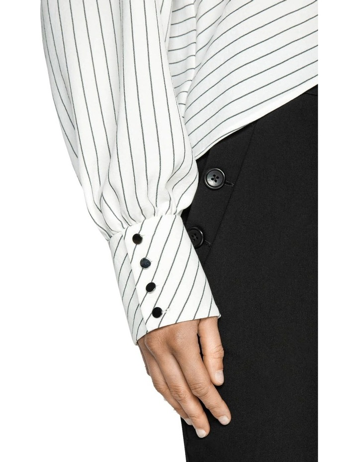 Pinstripe Blouson Sleeve Top image 4