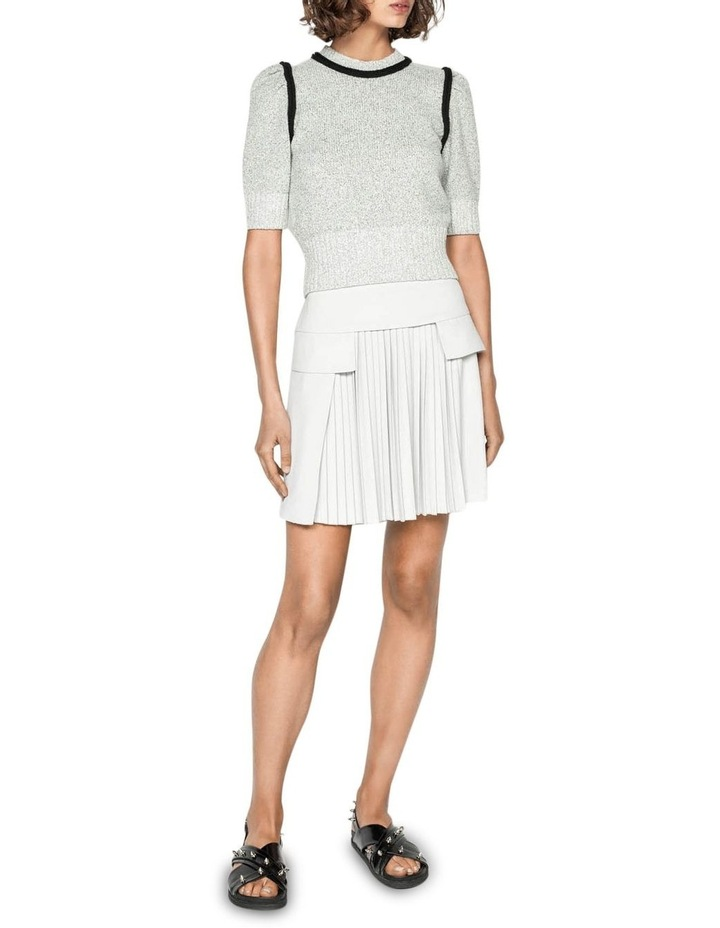 Silver Pleat Front Mini Skirt image 1