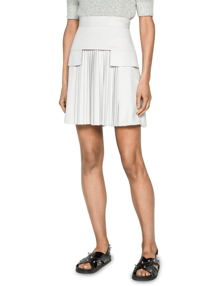 Silver Pleat Front Mini Skirt image 3