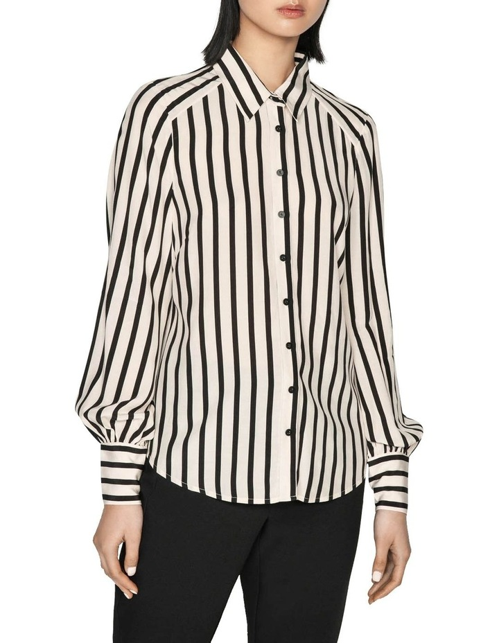 Striped Blouson Sleeve Shirt image 2