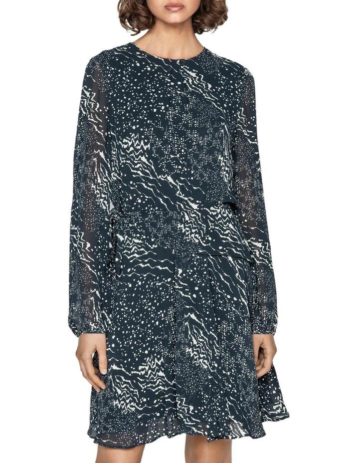 Monochrome Tie Waist Midi Dress image 2
