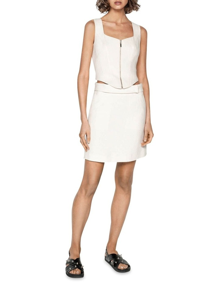 Ecru Cotton Linen Mini Skirt image 1