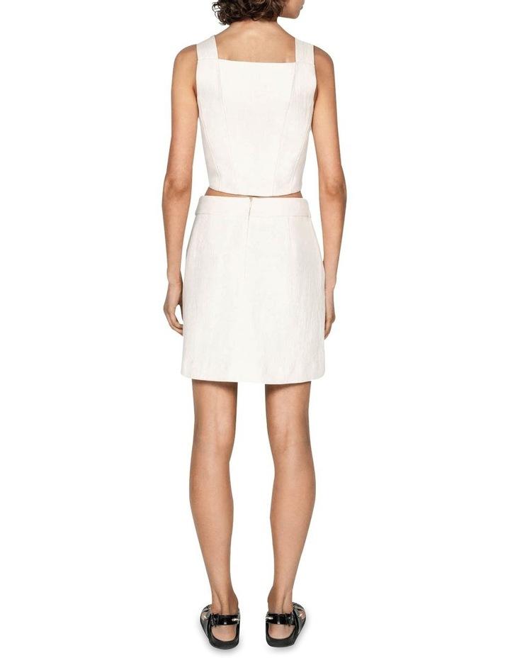 Ecru Cotton Linen Mini Skirt image 3