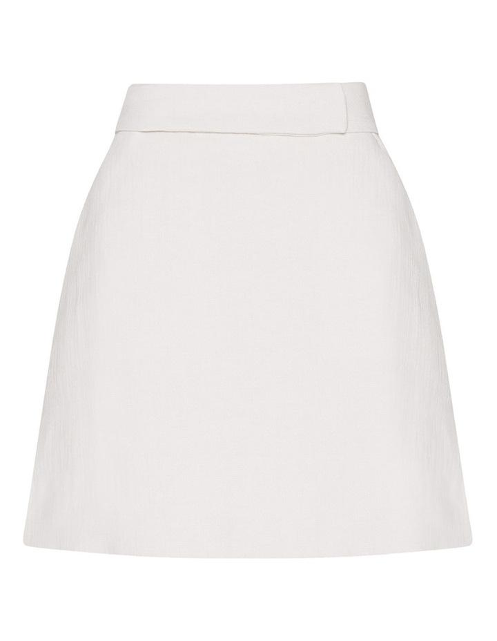 Ecru Cotton Linen Mini Skirt image 4