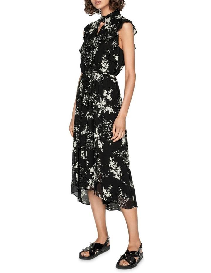 Abstract Floral Viscose Ruffle Midi Dress image 1