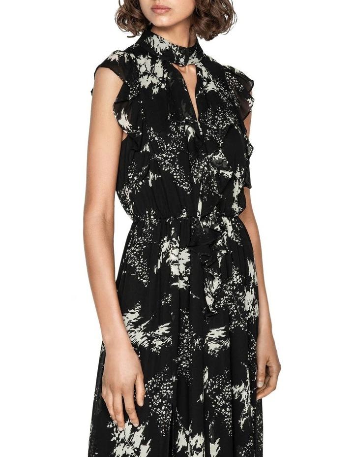 Abstract Floral Viscose Ruffle Midi Dress image 2