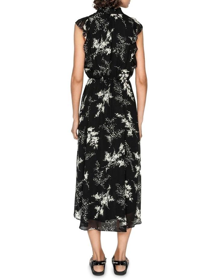 Abstract Floral Viscose Ruffle Midi Dress image 3