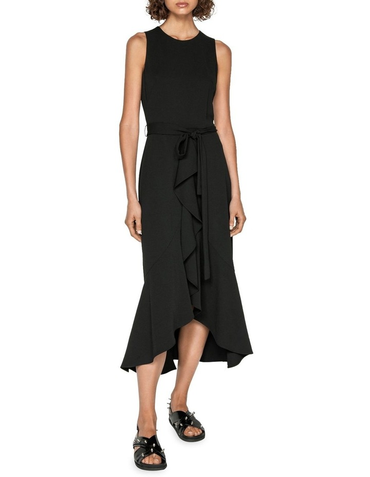 Frilled Hem Belted Midi Dress image 1