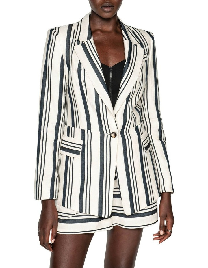 Striped Linen One Button Jacket image 2